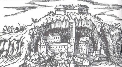 Stein an der Traun, um 1560, ist eine der wenigen Höhlenburgen Mitteleuropas © J. Lang/Stadtarchiv Bad Reichenhall