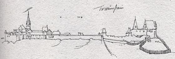 Im Schutz der Burg entwickelte sich Traunstein zu einer Stadt mit zentralörtlicher Funktion. Ansicht bei Philipp Apian um 1560 © J. Lang/Stadtarchiv Bad Reichenhall