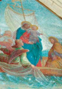Wandmalerei: Die heilige Familie überquert den Seeoner See © C. Soika