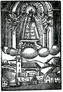 Andachtsbild mit Gnadenbild und Kirche © J. Lang