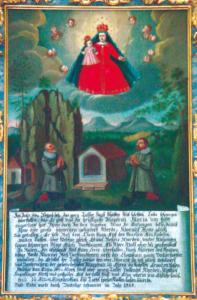 Votivtafel mit der Ursprungslegende von Maria Klobenstein 1664 © J. Lang