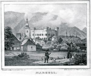 Marzoll mit Kiche und Schloss, Stich um 1850 © J. Lang