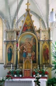 Hochaltar mit dem Kirchenpatron St. Laurentius © H. Roth