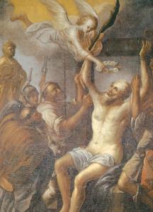"""Hochaltarbild (1698) """"Martyrium des hl. Bartholomäus"""" © Prälat Walter Brugger"""