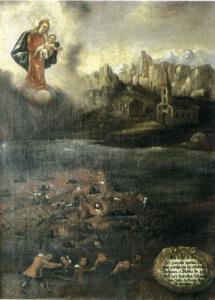 Votivbild (1691) vom großen Unglück der Almer Wallfahrer im Jahre 1688 © Prälat Walter Brugger