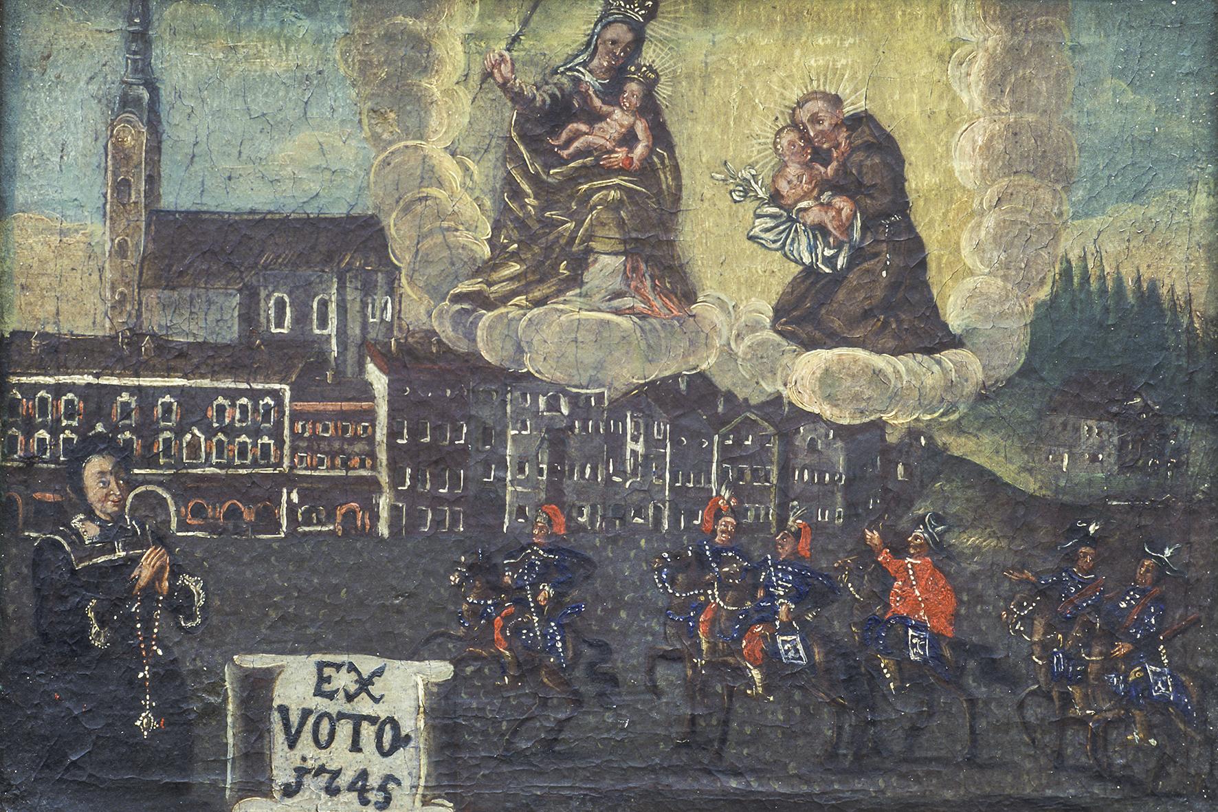 """Votivtafel 1745 """"Panduren-Einfall"""" - gemalt vermutl. v. Anton Elsässer (1682-1754): Einritt der Panduren unter Freiherr von der Trenk - nördliche Marktstraße © ROHA Fotothek Teisendorf"""
